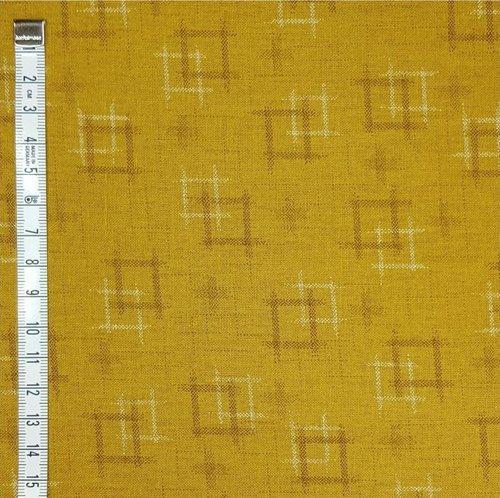 Tela patchwork japonesa fondo mostaza con motivos claroscuros