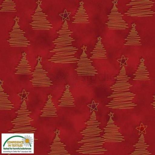 Tela patchwork fondo rojo con árboles dorados Navidad