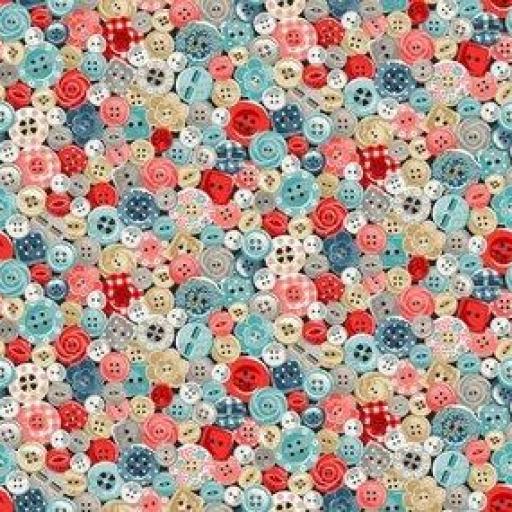 Tela patchwork con botones