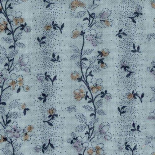 Tela patchwork azul claro de cenefas con ramas