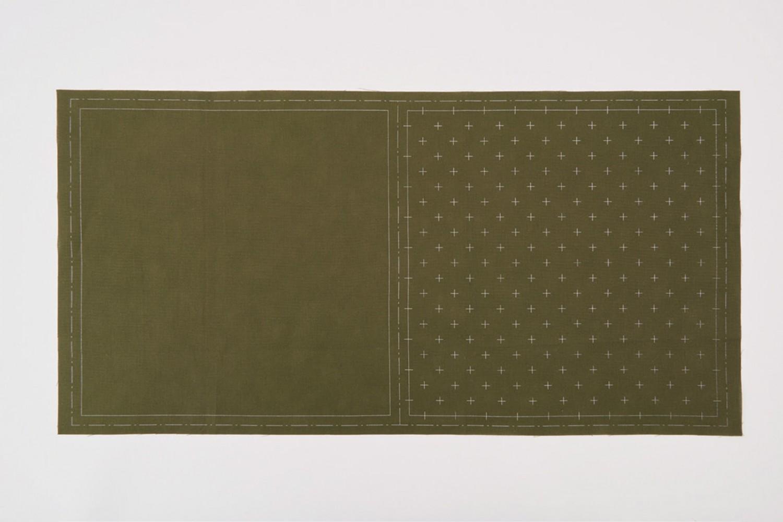 Tela impresa Sashiko verde