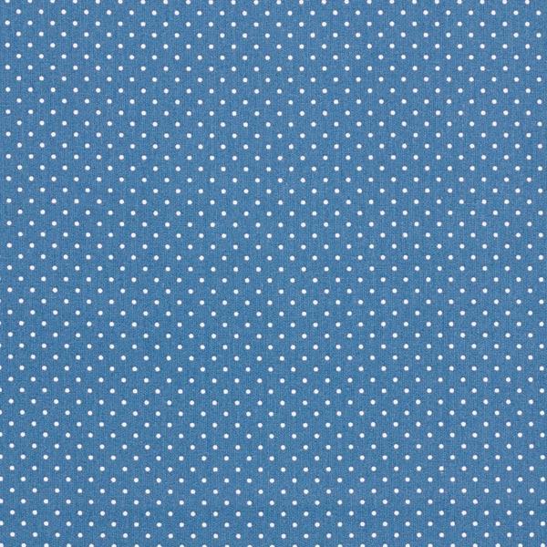 Tela algodón azul vaquero con topos blancos