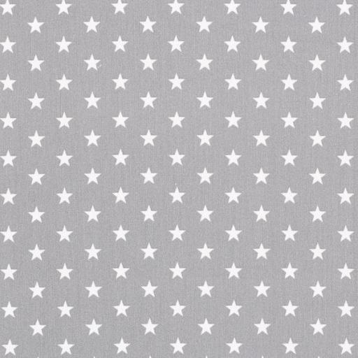 Tela algodón gris con estrellas blancas