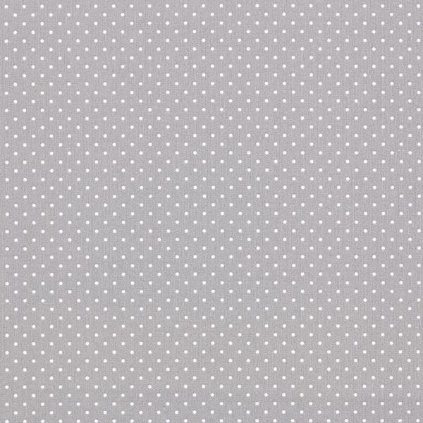 Tela algodón gris con topos blancos