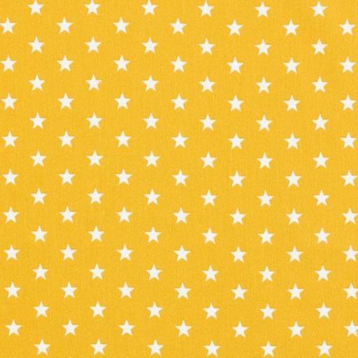 Tela algodón mostaza  con estrellas blancas