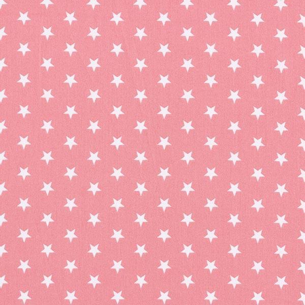 Tela algodón rosa palo con estrellas blancas