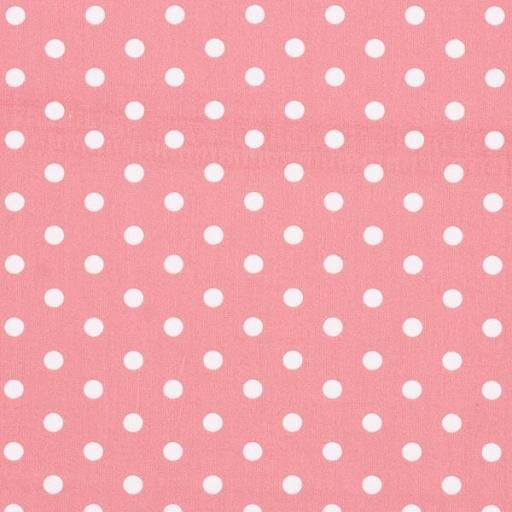 Tela algodón rosa palo con topos blancos