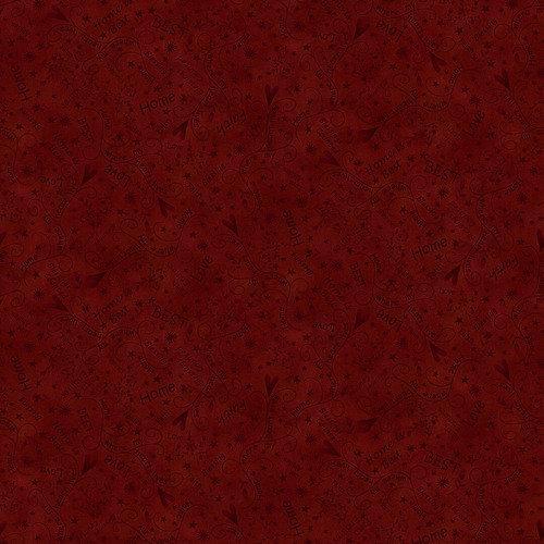 Tela patchwork fondo rojo oscuro con corazones y palabras