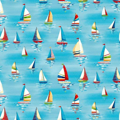 Tela patchwork azul con veleros