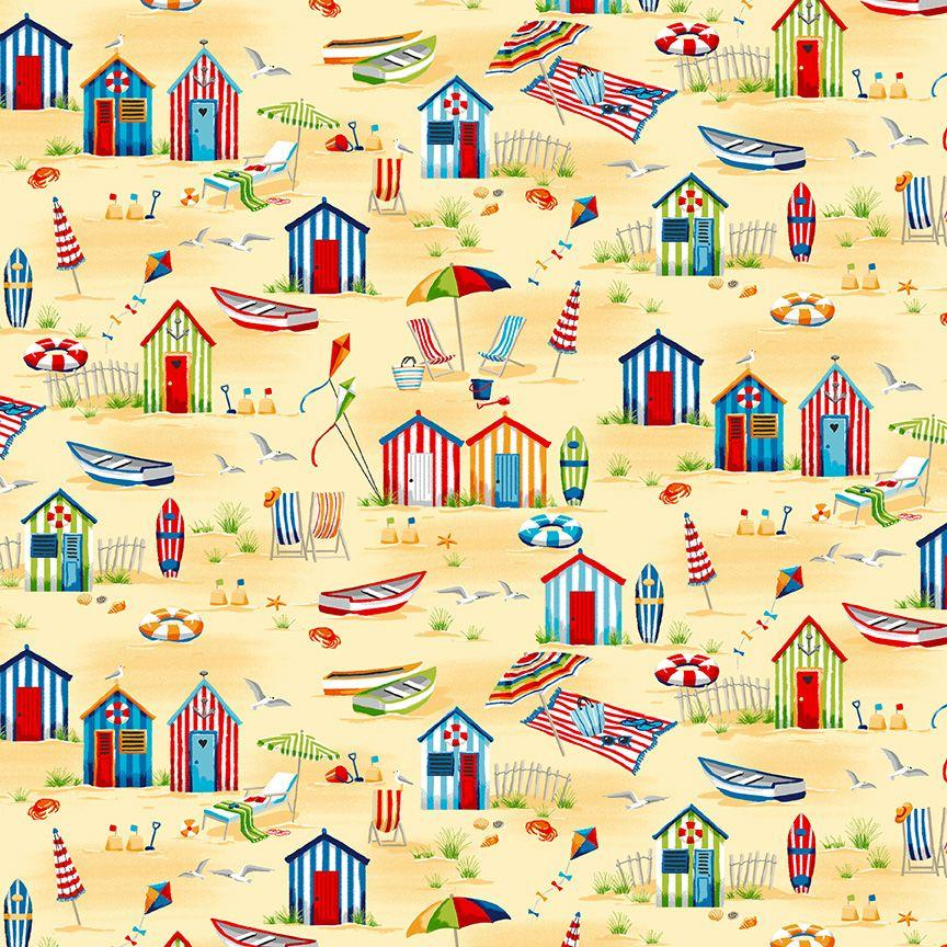 Tela patchwork beige con casetas de playa