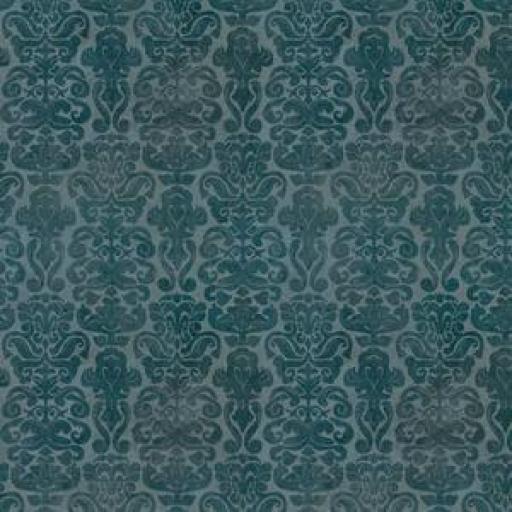 Tela patchwork fondo verde jade con brocados oscuros Gorjuss