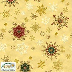 Tela patchwork fondo dorado con copos Navidad