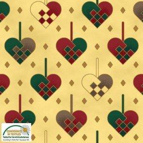 Tela patchwork fondo dorado con corazones Navidad