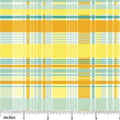 Tela patchwork de cuadrados amarillos y verdes