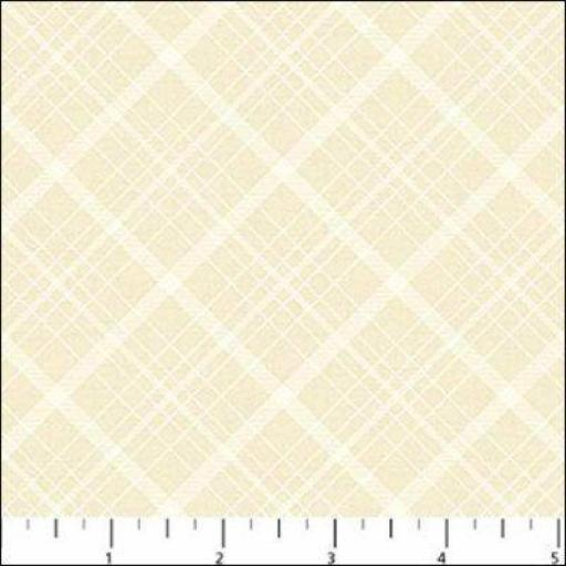 Tela patchwork beige con rombos blancos