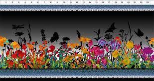 Tela patchwork gris oscura con cenefas flores