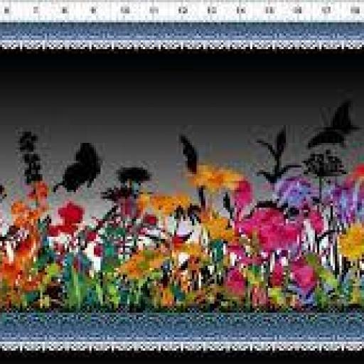 Tela patchwork gris oscura con cenefas flores [0]