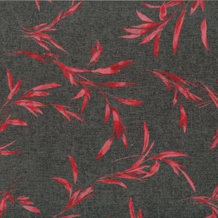 Tela patchwork fondo gris jaspeado con ramas rojas 100