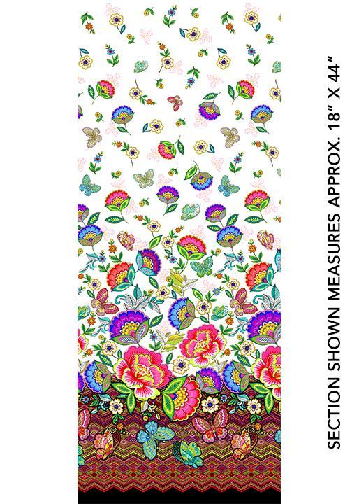 Tela patchwork con flores y mariposas