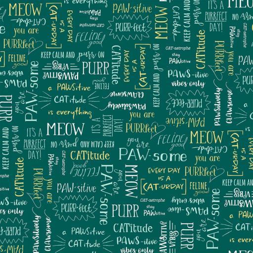 Tela patchwork verde con frases ingeniosas
