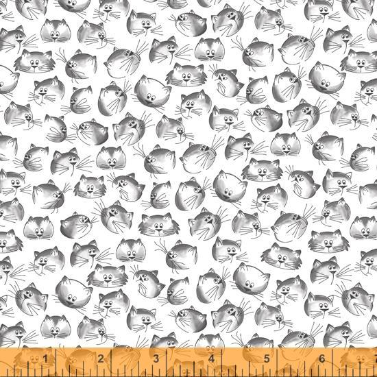 Tela patchwork blanca con cabezas de gatos
