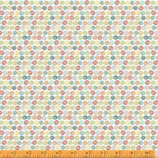 Tela patchwork blanca con ovillos de colores