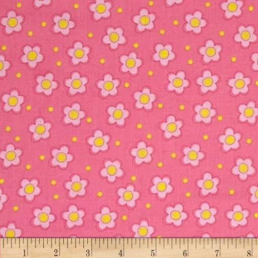 Tela patchwork fondo rosa con flores