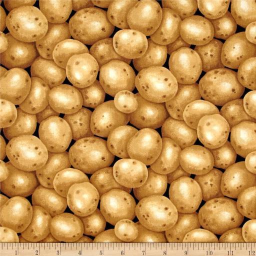 Tela patchwork negra con patatas