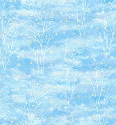 Tela patchwork fondo azul claro con árboles y estrellitas