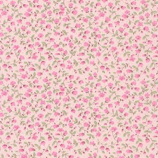 Tela patchwork fondo rosa con florecitas rosas