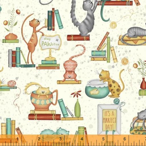 Tela patchwork beige con gatos