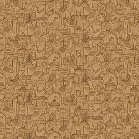 Tela patchwork fondo marrón claro con casitas