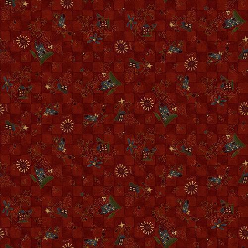 Tela patchwork fondo rojo oscuro de cuadrados y casitas