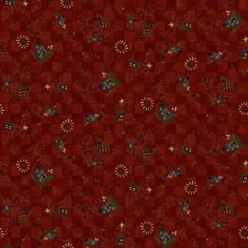 Tela patchwork fondo rojo oscuro de cuadrados y casitas [0]