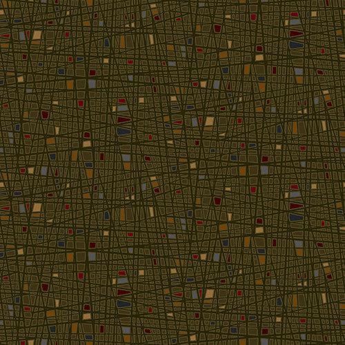 Tela patchwork fondo verde oscuro con rayas