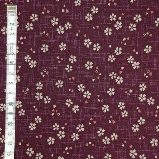 Tela patchwork japonesa morada con flores rosadas [0]