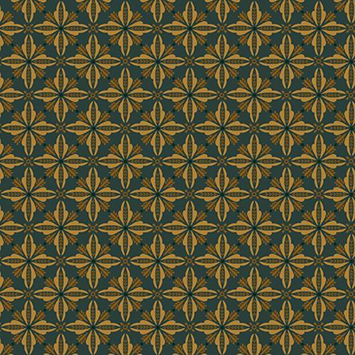 Tela patchwork fondo verde oscuro con dibujos claros