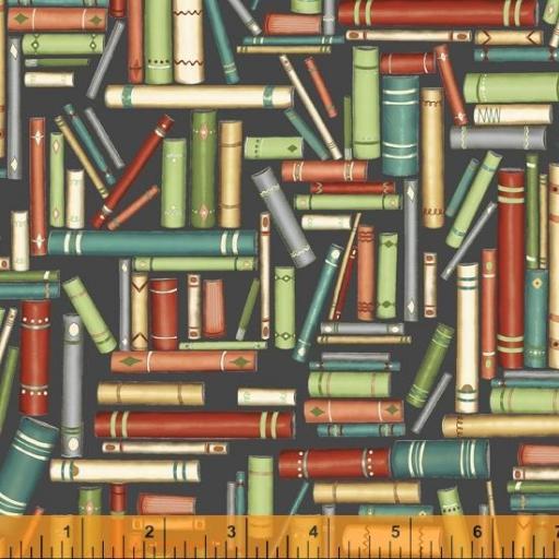 Tela patchwork negra con libros