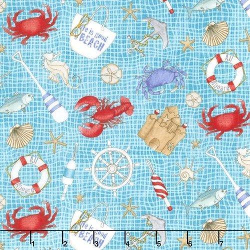 Tela patchwork fondo turquesa con motivos marineros