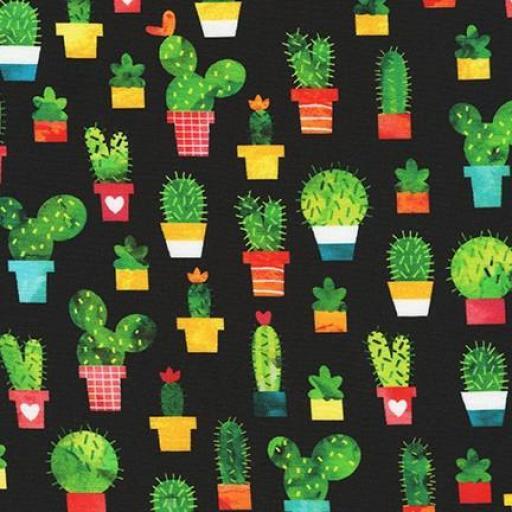 Tela patchwork negra con cactus