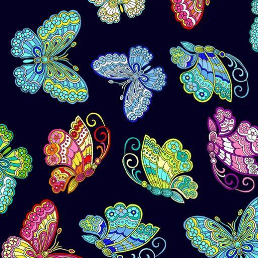 Tela patchwork negra con mariposas