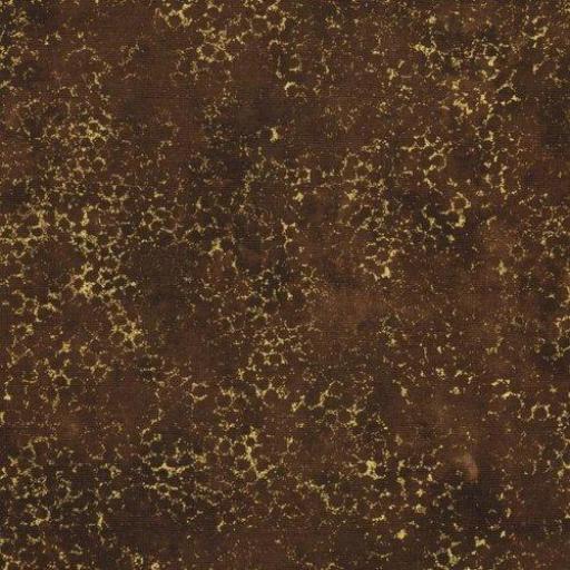 Tela patchwork marrón oscuro con piedras doradas