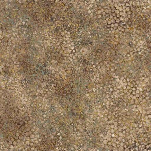 Tela patchwork marrón con piedras doradas