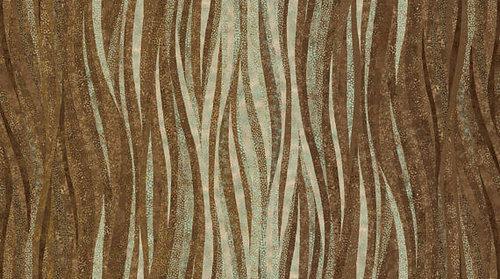 Tela patchwork marrón con ondas doradas