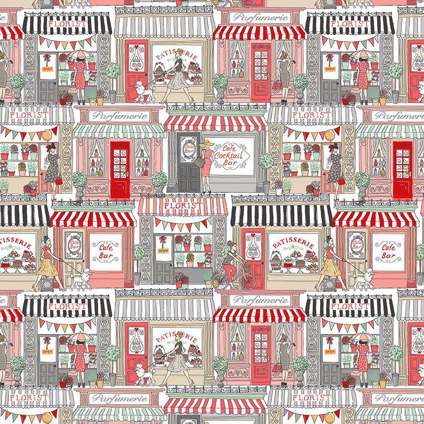 Tela patchwork con escaparates de tiendas