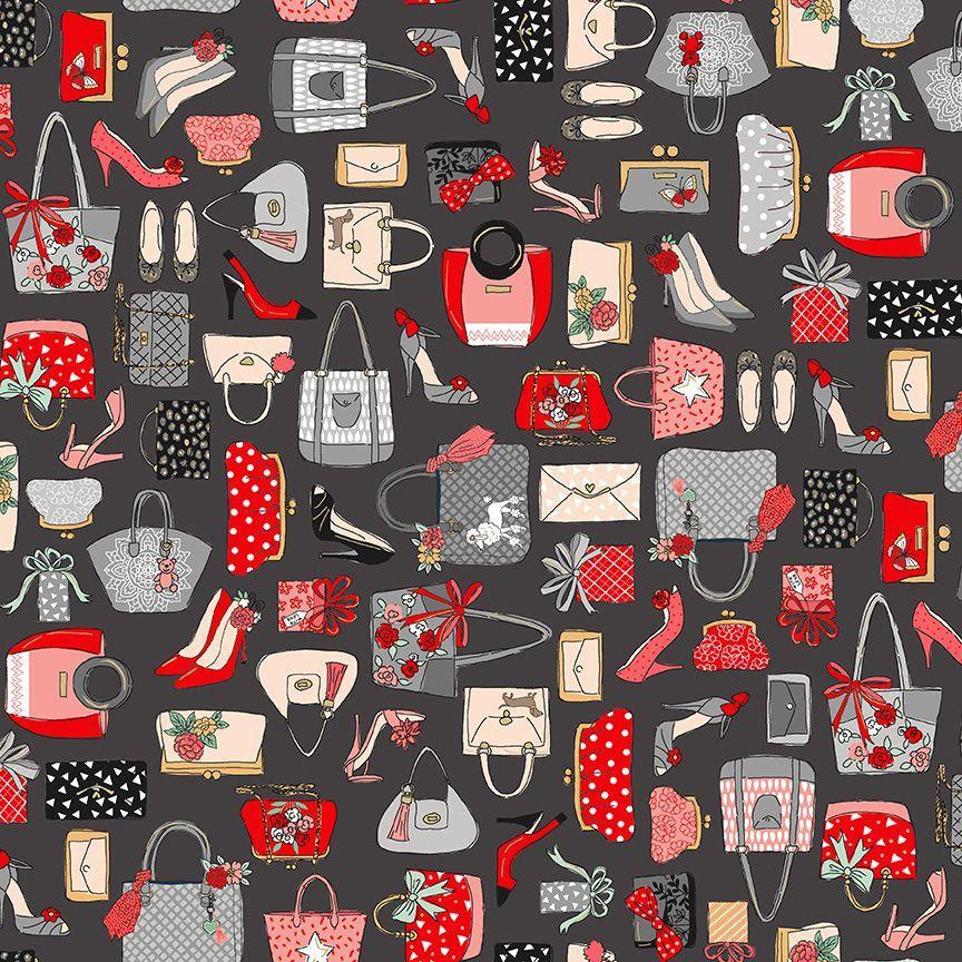 Tela patchwork con bolsos y zapatos