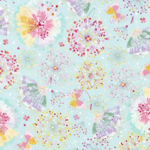 Tela patchwork fondo verde agua con flores [0]