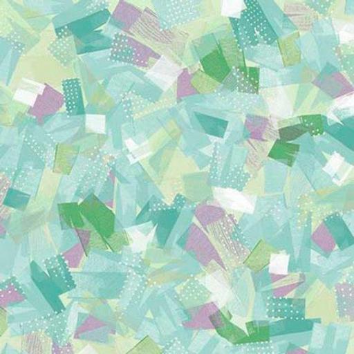 Tela patchwork con pinceladas verde agua y morados