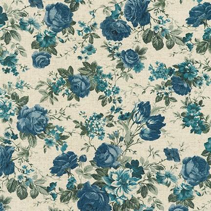 Tela patchwork de fondo crudo con flores azules
