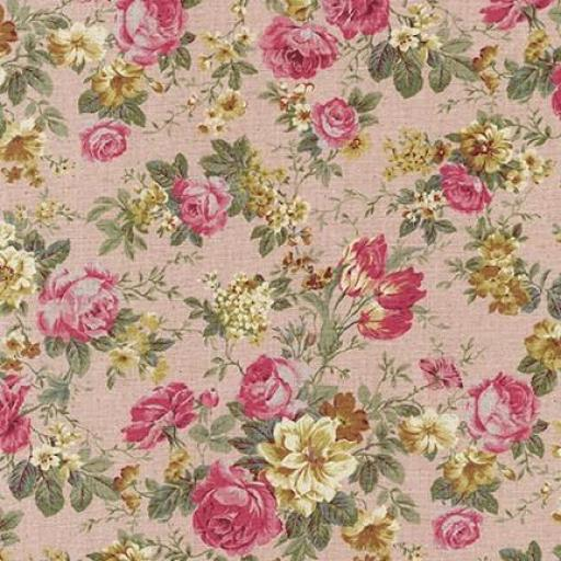 Tela patchwork de fondo rosado con flores rosas